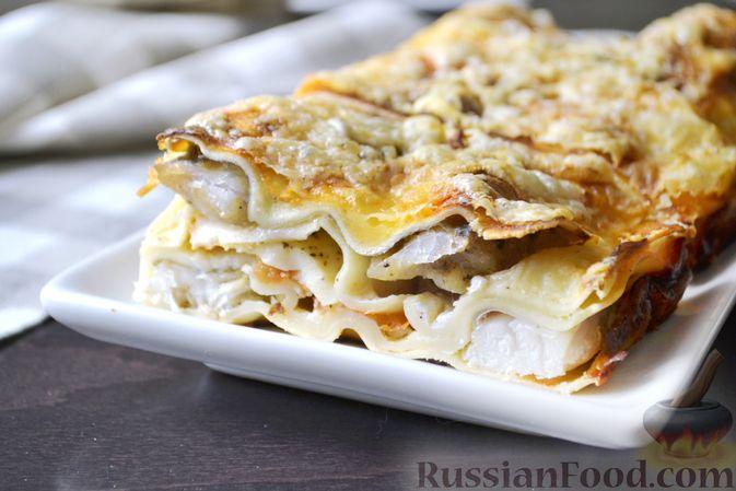 Фото к рецепту: Лазанья с рыбой, помидором и сыром
