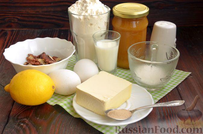 Фото приготовления рецепта: Слоистый пирог из песочно-дрожжевого теста, с джемом и ореховым безе - шаг №1