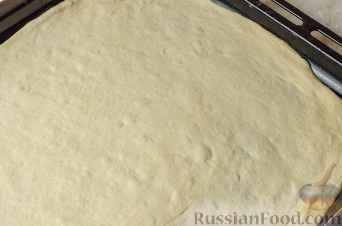 """Фото приготовления рецепта: Дрожжевой луковый пирог """"Писсаладьер"""" с помидорами, анчоусами и маслинами - шаг №15"""