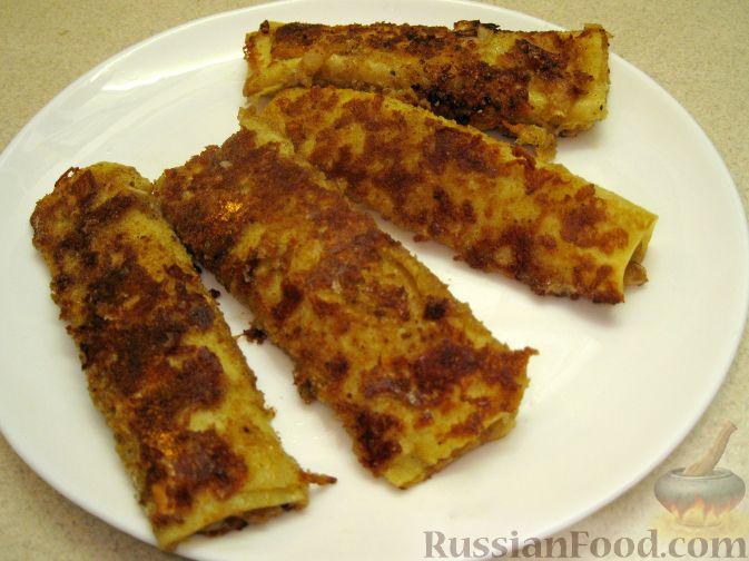 Рецепт Блины, фаршированные луком и сыром