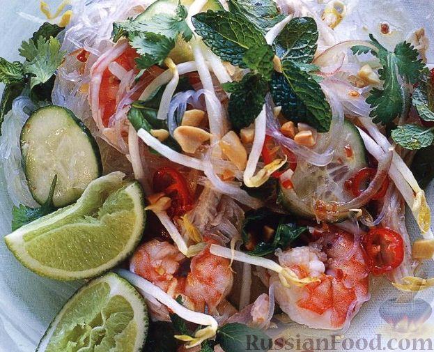 Рецепт Салат из рисовой лапши, креветок и куриного мяса