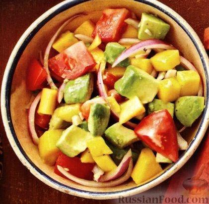 Рецепт Салат из авокадо, манго, помидоров и лука