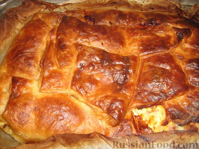 Рецепт Пирог с ветчиной, сыром и творогом