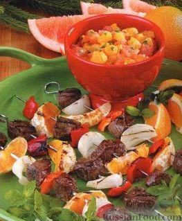 Рецепт Шашлыки из баранины с цитрусовой сальсой