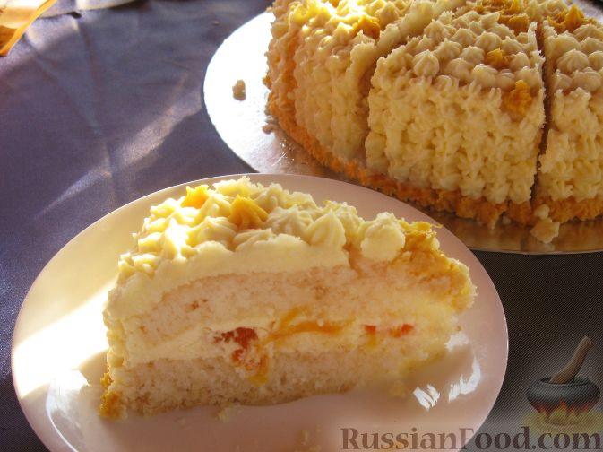 Рецепт Лимонно-бисквитный торт с творожным кремом и курагой