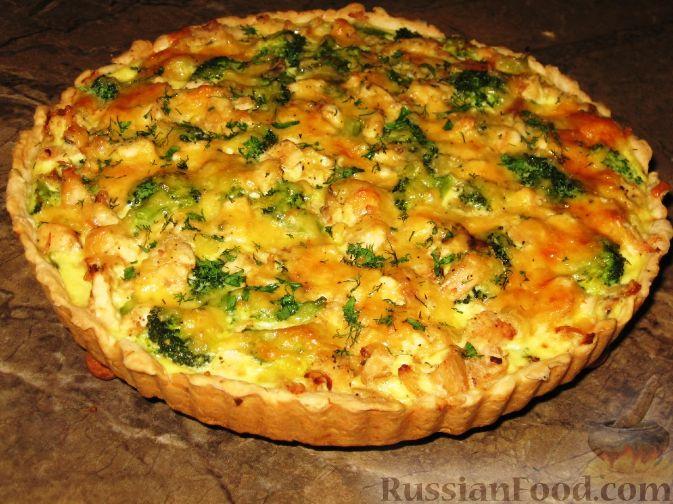 рецепт пирог с курицей брокколи