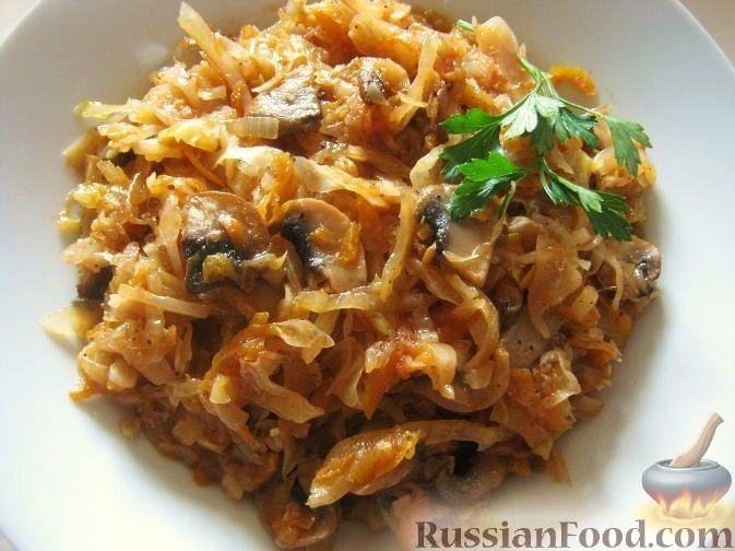 Рецепт Тушеная капуста с грибами (в мультиварке)