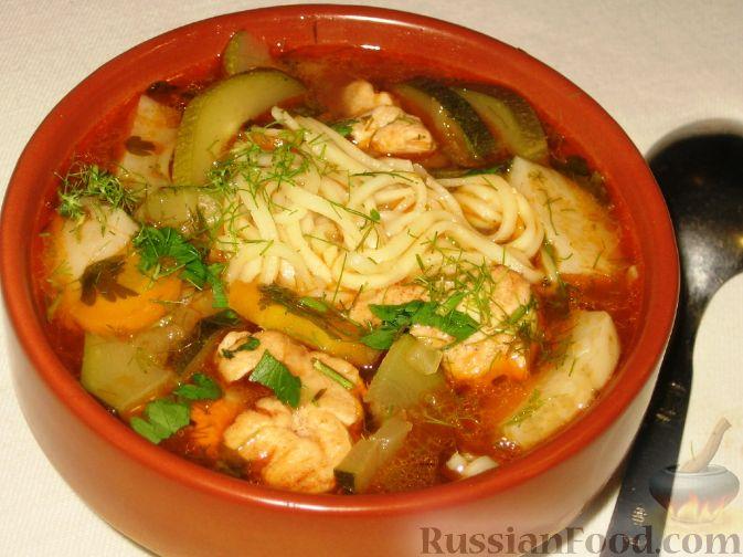 Рецепт Овощной суп с курицей, лапшой и цуккини