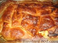 Фото к рецепту: Пирог с ветчиной, сыром и творогом