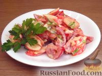 Фото к рецепту: Острый салат с крабовыми палочками