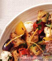 Фото к рецепту: Салат из жареных на гриле овощей и хлеба