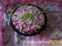 """Фото к рецепту: Торт овощной """"Любаша"""" из сельди и овощей"""