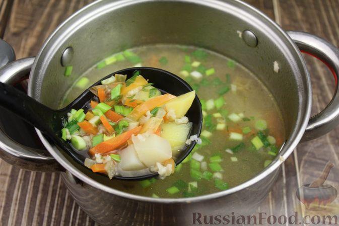 Фото приготовления рецепта: Куриный суп с яичными шариками, овсяными хлопьями и сладким перцем - шаг №16