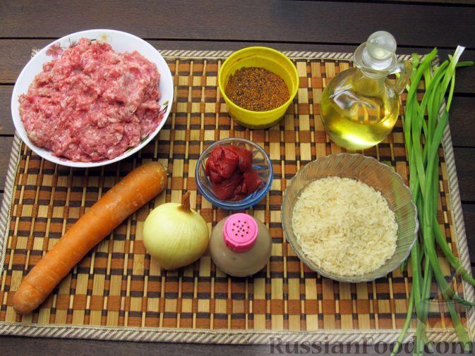 Фото приготовления рецепта: Рисовый суп с мясными фрикадельками и томатной пастой - шаг №1