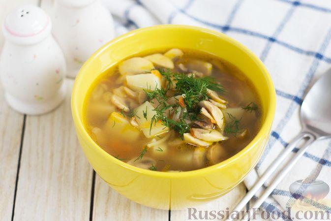 Фото к рецепту: Суп с шампиньонами и вермишелью