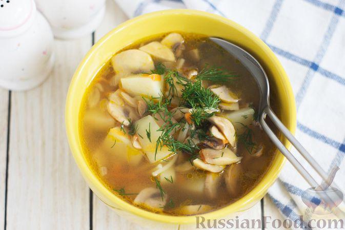 Фото приготовления рецепта: Суп с шампиньонами и вермишелью - шаг №9