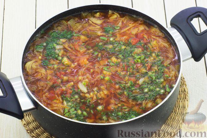 Фото приготовления рецепта: Постный борщ с сельдереем - шаг №10