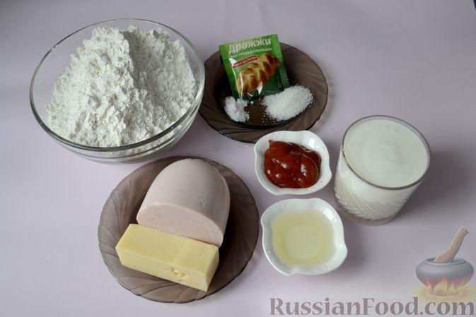 Фото приготовления рецепта: Дрожжевой пирог на кефире, с колбасой и сыром - шаг №1