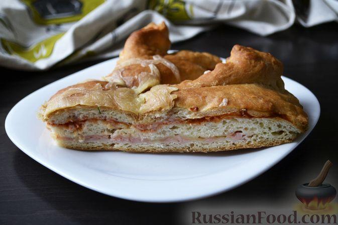 Фото к рецепту: Дрожжевой пирог на кефире, с колбасой и сыром