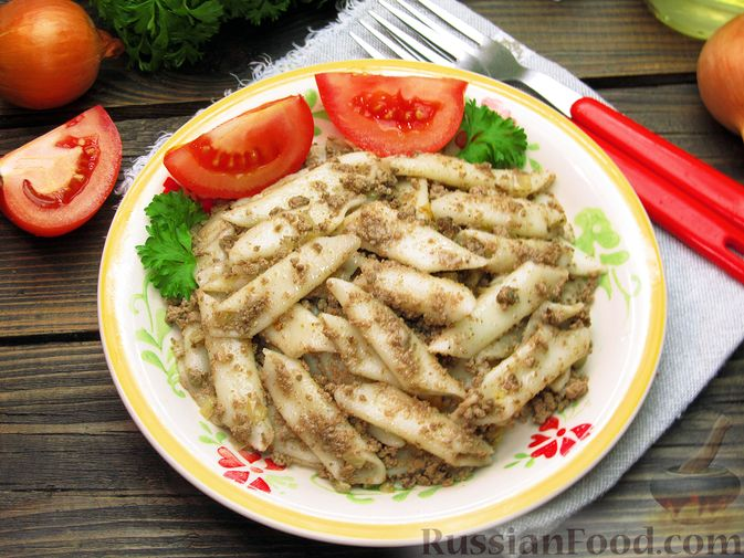 Фото к рецепту: Макароны по-флотски с куриной печенью