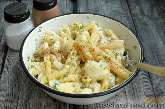 Фото приготовления рецепта: Цветная капуста, запечённая с макаронами и сыром - шаг №9