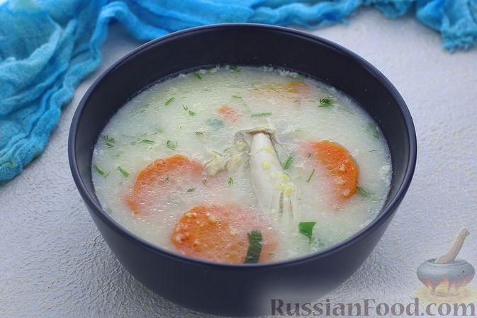Фото приготовления рецепта: Куриный суп с кукурузной крупой и сливками - шаг №13