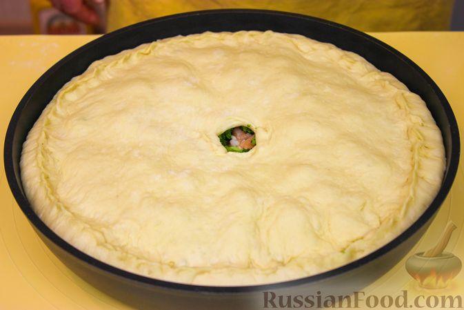 Фото приготовления рецепта: Пирог с красной рыбой и брокколи - шаг №11