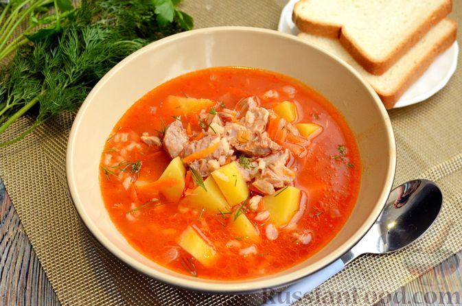 Фото приготовления рецепта: Томатный суп со свининой и рисом - шаг №17