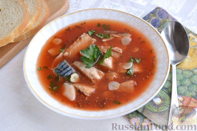 Фото к рецепту: Томатный суп со скумбрией