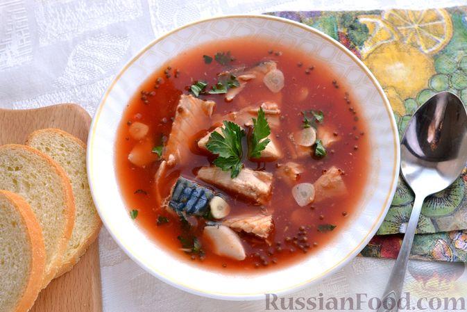Фото приготовления рецепта: Томатный суп со скумбрией - шаг №10