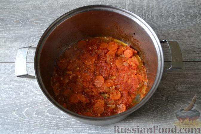Фото приготовления рецепта: Суп с нутом, макаронами и помидорами - шаг №9