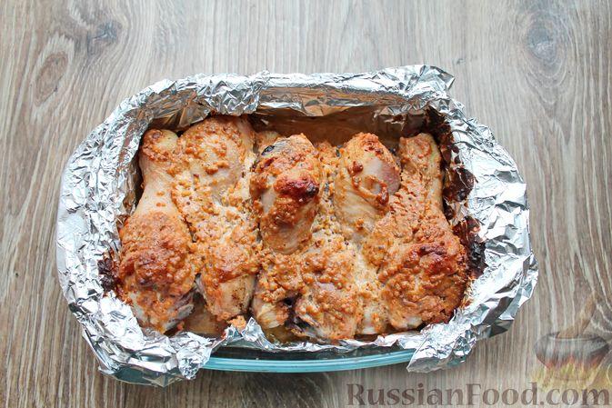 Фото приготовления рецепта: Куриные ножки в сметане и французской горчице, запечённые в духовке - шаг №9