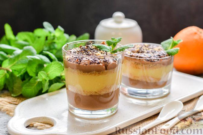 Фото к рецепту: Десерт с печеньем, апельсиновым и шоколадным заварным кремом