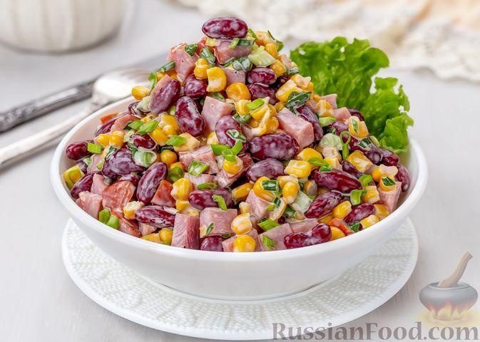 Фото приготовления рецепта: Салат с ветчиной, консервированной фасолью и кукурузой - шаг №6