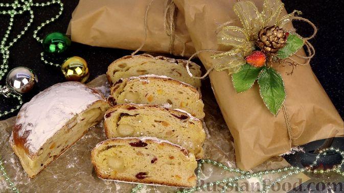 Фото к рецепту: Рождественский штоллен с марципаном