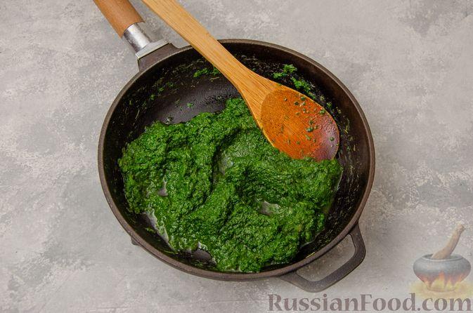 Фото приготовления рецепта: Вареники со шпинатом, творогом и рассольным сыром - шаг №4