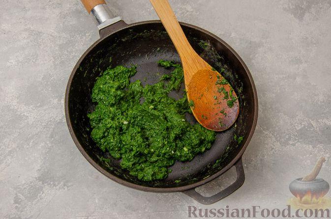 Фото приготовления рецепта: Вареники со шпинатом, творогом и рассольным сыром - шаг №6