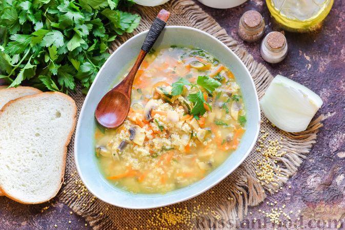 Фото к рецепту: Суп с шампиньонами и пшеном