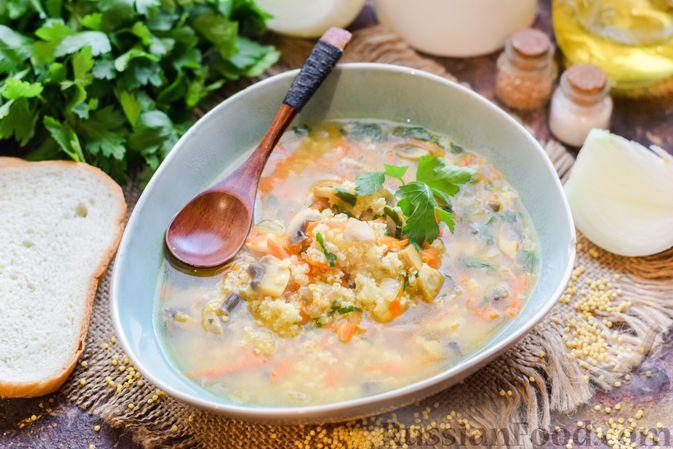 Фото приготовления рецепта: Суп с шампиньонами и пшеном - шаг №7