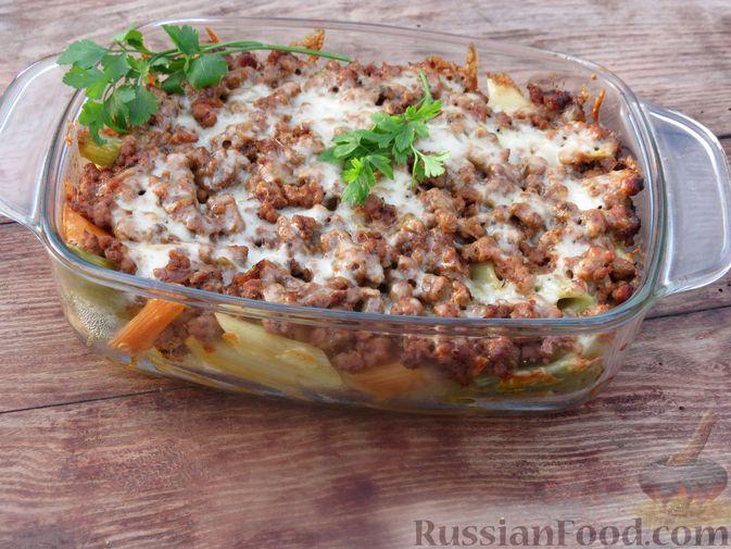 Фото приготовления рецепта: Макароны по-флотски с мясным фаршем (в духовке) - шаг №12