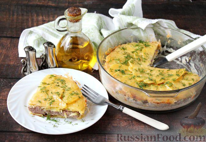 Фото к рецепту: Картошка с мясным фаршем и сыром, в микроволновке