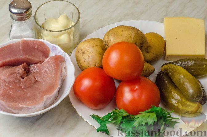 Фото приготовления рецепта: Мясной салат с картофелем, помидорами, солёными огурцами и сыром - шаг №1