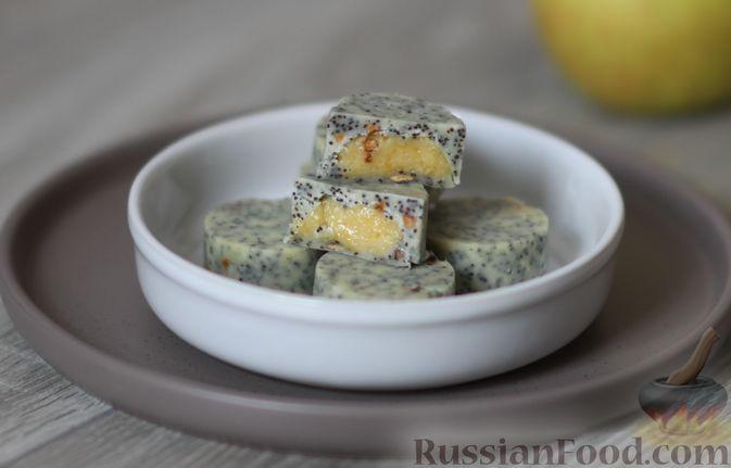 Фото к рецепту: Конфеты с белым шоколадом, маком и лимонным курдом