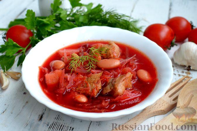Фото к рецепту: Борщ с квашеной капустой и фасолью