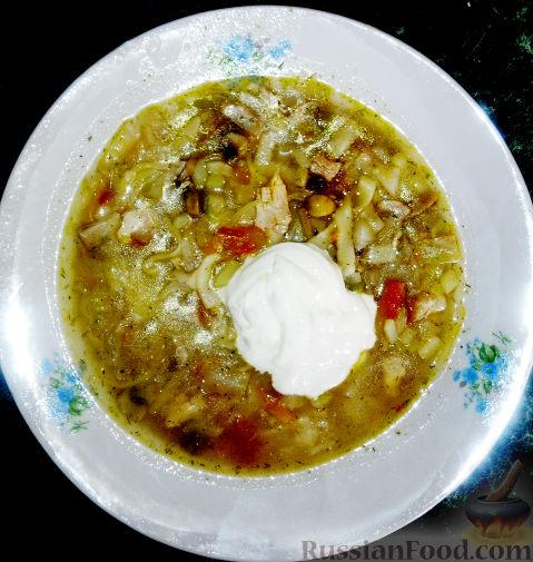 Рецепт Куриные щи с грибами и лапшой