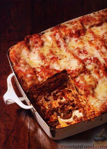 Рецепт Лазанья с грибами и мясом под соусом маринара