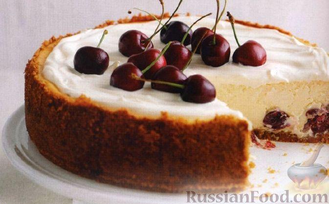Рецепт Чизкейк с белым шоколадом и вишнями