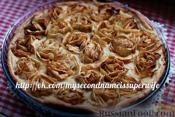 """Рецепт Яблочный пай (пирог) """"Розы в вине"""""""