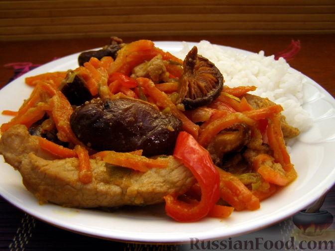 Рецепт Свинина с грибами под кисло-сладким соусом