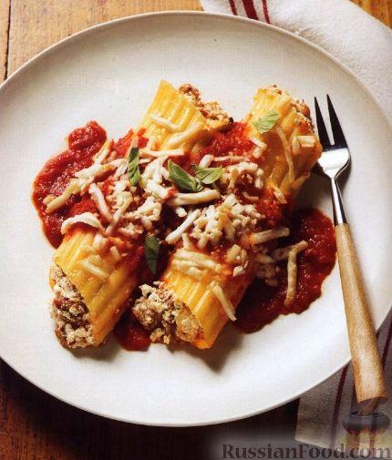 Рецепт Паста маникотти с мясом и тремя сырами